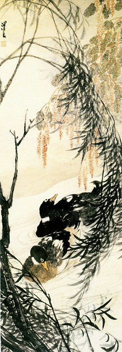 Ren Xiong. Chinese artists of the Middle Ages (任熊 - 柳鸭图)