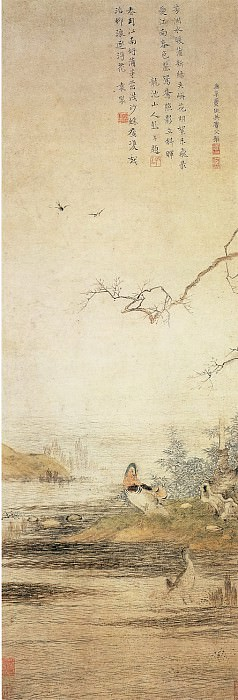 Qiu Ying. Chinese artists of the Middle Ages (仇英 - 沙汀鸳鸯图)