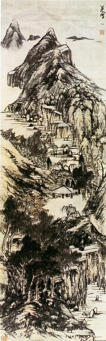 Zhu Da. Chinese artists of the Middle Ages (朱耷 - 彩笔山水图)