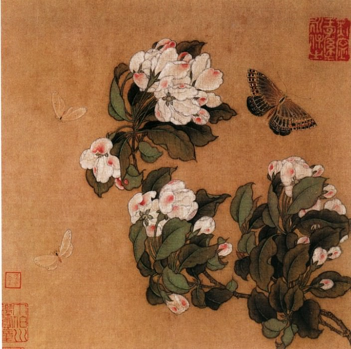 Unknown. Chinese artists of the Middle Ages (佚名 - 海棠蛱蝶图)