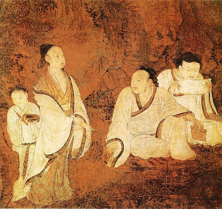 Show Ziqian. Chinese artists of the Middle Ages (展子虔 - 授经图)