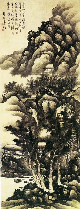 Gong Xian. Chinese artists of the Middle Ages (龚贤 - 云山结楼图)