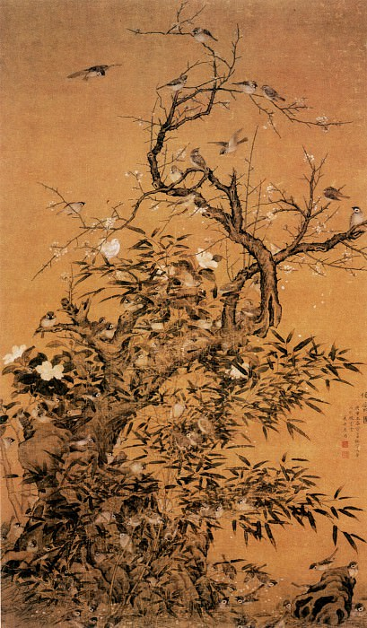 Cui Mao. Chinese artists of the Middle Ages (崔锚 - 百雀图)