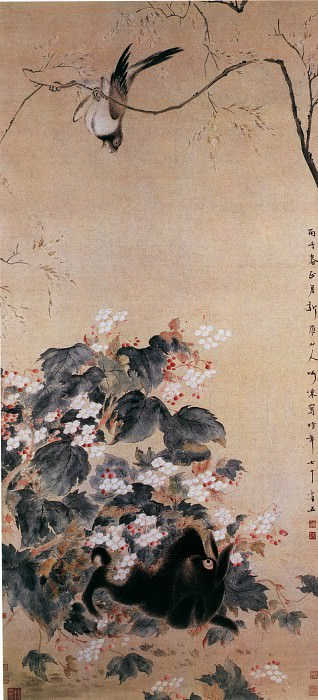 Hua Zao. Chinese artists of the Middle Ages (华蚤 - 海棠禽兔图)