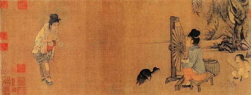 Wang Juzheng. Chinese artists of the Middle Ages (王居正 - 纺车图)