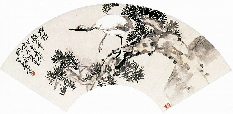 Wang Zhen. Chinese artists of the Middle Ages (王震 - 松鹤延年图)