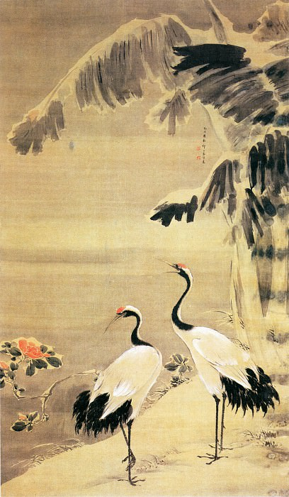 Yuan Yao. Chinese artists of the Middle Ages (袁耀 - 雪蕉双鹤图)