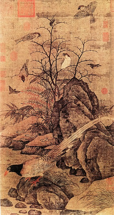 Huang Jusong. Chinese artists of the Middle Ages (黄居宋 - 山鹧棘雀图)