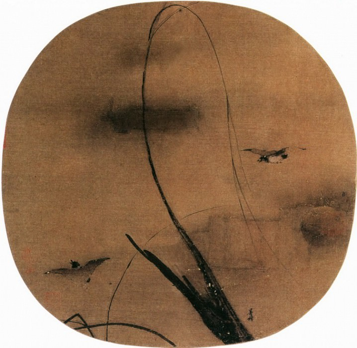 Liang Kai. Chinese artists of the Middle Ages (梁楷 - 秋柳双鸦图)
