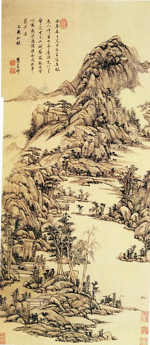 Wang Yuanqi. Chinese artists of the Middle Ages (王原祁 - 山中早春图)