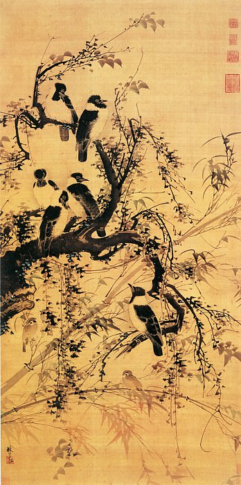 Lin Liang. Chinese artists of the Middle Ages (林良 - 秋林聚禽图)