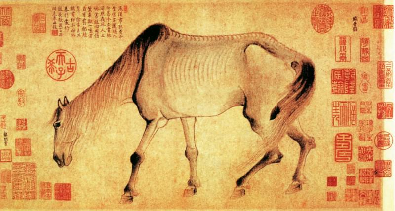Gong Kai. Chinese artists of the Middle Ages (龚开 - 骏骨图)