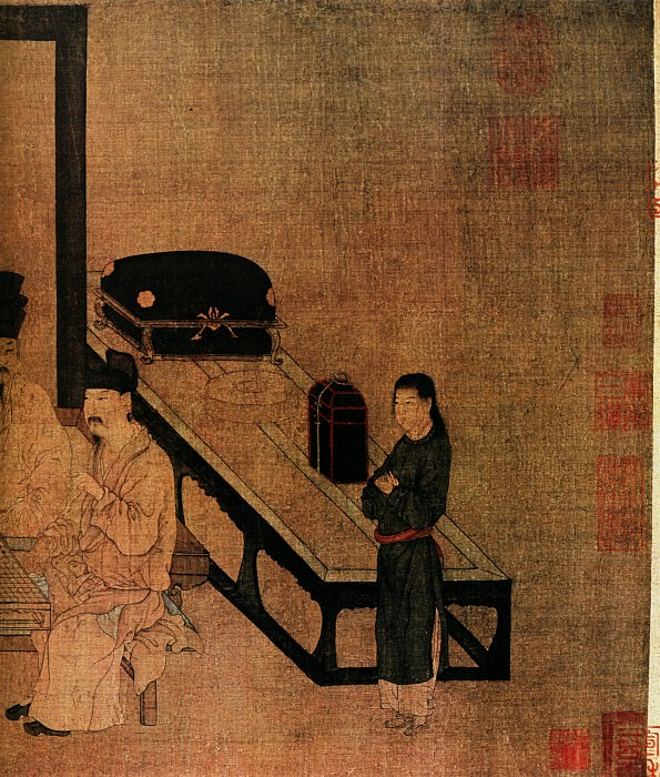Zhou Wen Ju. Chinese artists of the Middle Ages (周文矩 - 重屏会棋图)