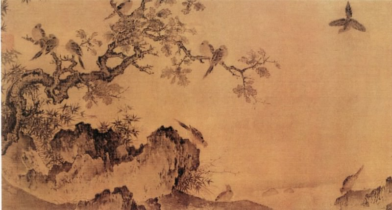 Huang Jusong. Chinese artists of the Middle Ages (黄居宋 - 竹石锦鸠图)