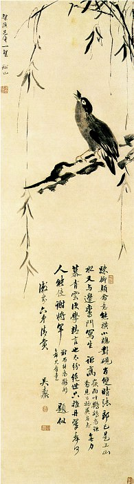 Zhang Wentao. Chinese artists of the Middle Ages (张问陶 - 疏柳颠禽图)