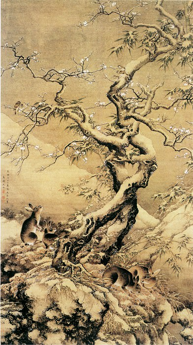 Shen Quan. Chinese artists of the Middle Ages (沈铨 - 雪中游兔图)