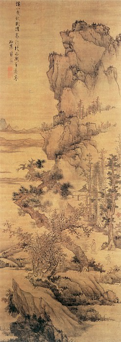Lan Ying. Chinese artists of the Middle Ages (蓝瑛 - 溪山曳杖图)