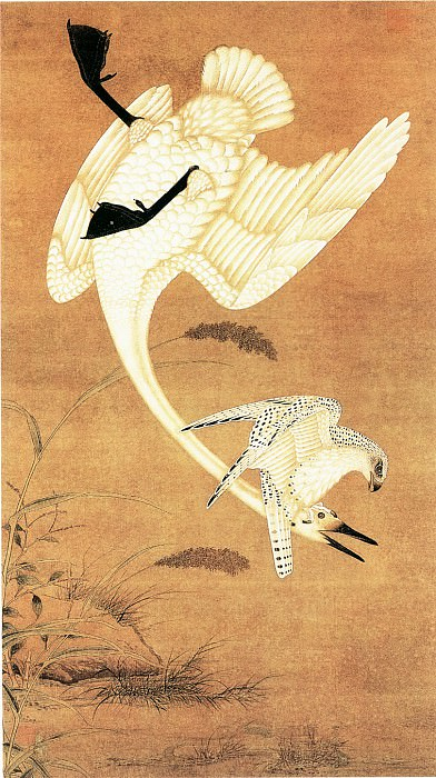 Yin Xie. Chinese artists of the Middle Ages (殷偕 - 鹰击天鹅图)