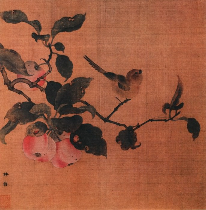 Lin Chun. Chinese artists of the Middle Ages (林椿 - 果熟来禽图)