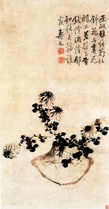 Bian Shou Min. Chinese artists of the Middle Ages (边寿民 - 歪瓶依菊图)