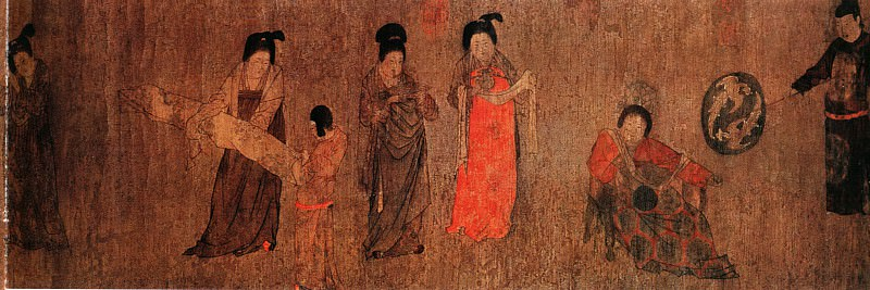Zhou Fang. Chinese artists of the Middle Ages (周防 - 挥扇仕女图)