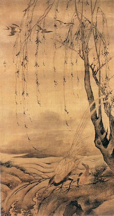 Wang Zhao. Chinese artists of the Middle Ages (汪肇 - 柳禽白鹇图)