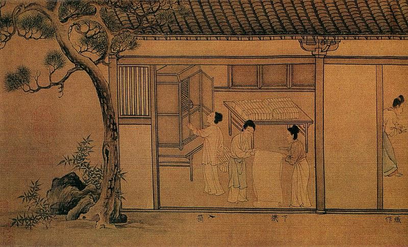 Unknown. Китайские художники средних веков (佚名 - 蚕织图(部分))