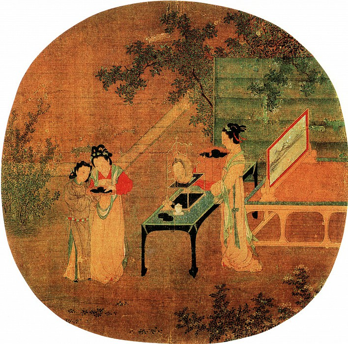 Wang Shen. Chinese artists of the Middle Ages (王诜 - 绣栊晓镜图)