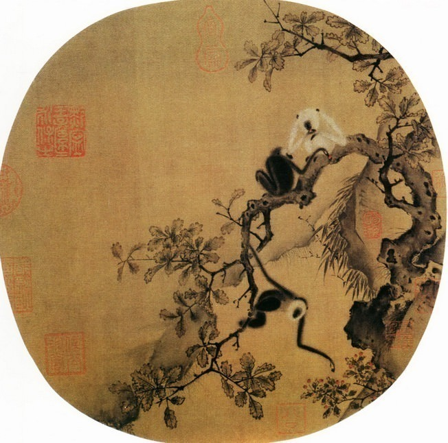 Unknown. Chinese artists of the Middle Ages (佚名 - 猿猴摘果图)