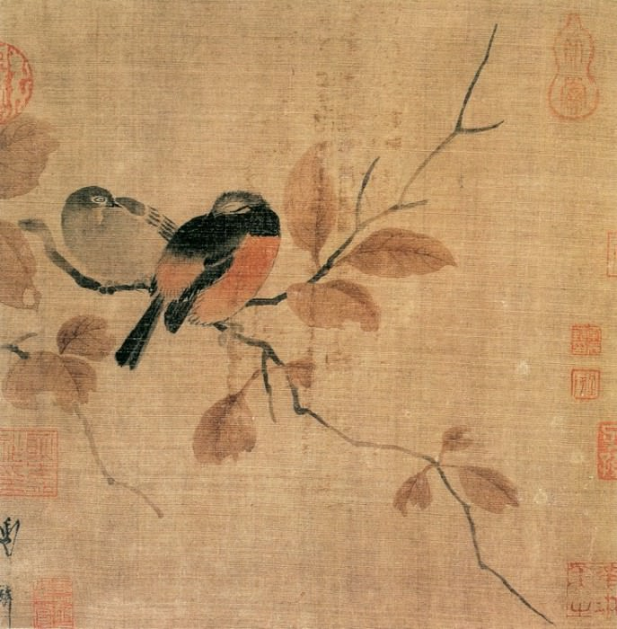 Unknown. Chinese artists of the Middle Ages (佚名 - 秋叶鸲莺图)