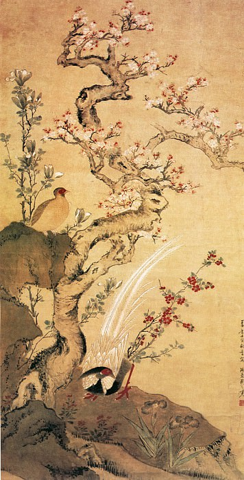 Zhou Zhi Mian. Chinese artists of the Middle Ages (周之冕 - 杏花锦鸡图)