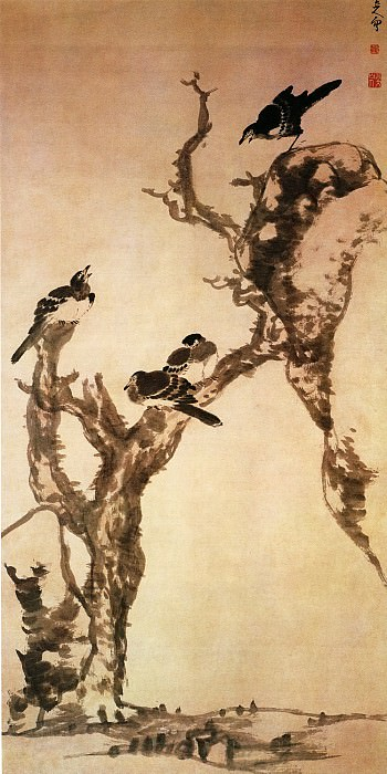 Zhu Da. Chinese artists of the Middle Ages (朱耷 - 枯木寒鸦图)