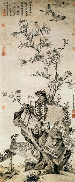 Wang Yuan. Chinese artists of the Middle Ages (王渊 - 竹石集禽图)