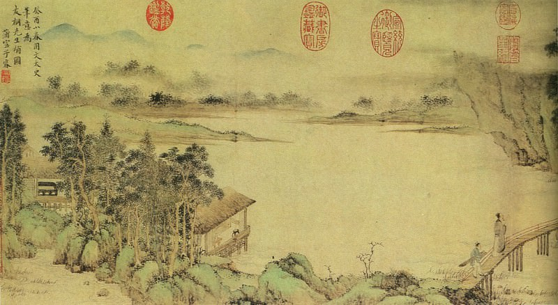 Shang Rui. Chinese artists of the Middle Ages (上睿 - 携琴访友图)
