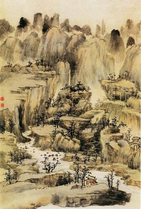 Fang Shishu. Chinese artists of the Middle Ages (方士庶 - 仿古山水图)