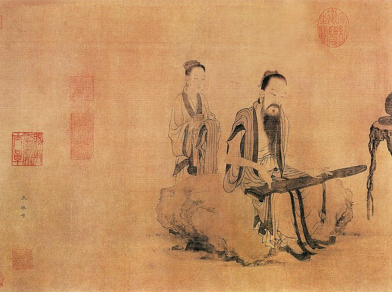 Wang Zhenpeng. Chinese artists of the Middle Ages (王振鹏 - 伯牙鼓琴图)