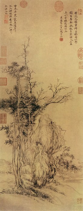 Yun Shouping. Chinese artists of the Middle Ages (恽寿平 - 仿倪瓒古木丛篁图)
