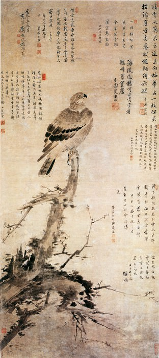Liu Qikan. Chinese artists of the Middle Ages (刘期侃 - 指画梅鹰图)