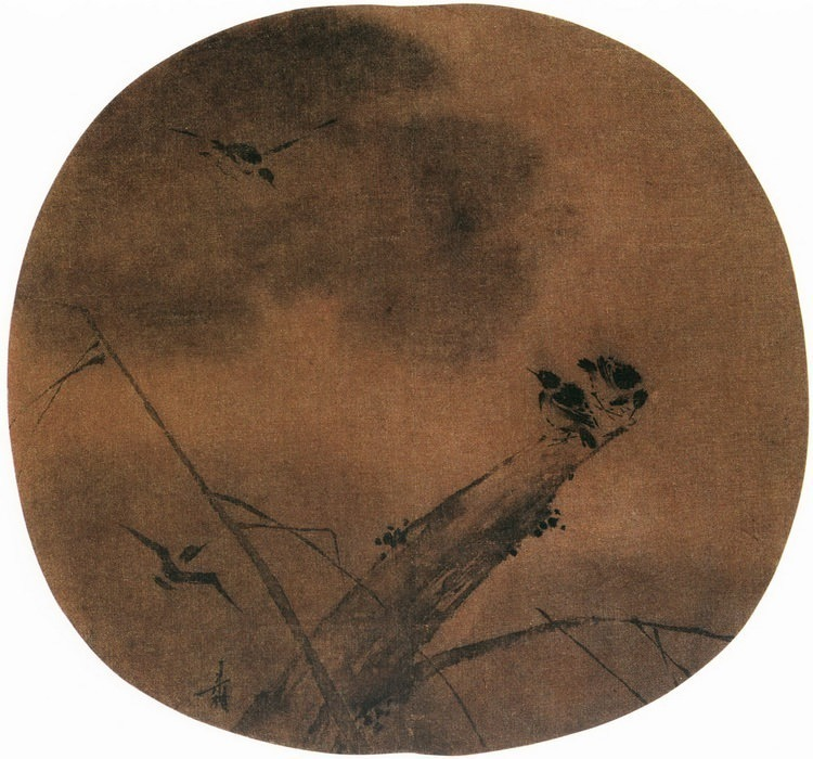 Liang Kai. Chinese artists of the Middle Ages (梁楷 - 柳树寒鸦图)