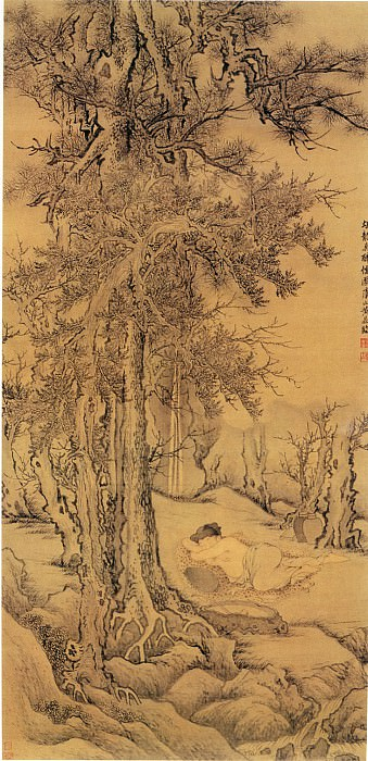 Huang Ding. Chinese artists of the Middle Ages (黄鼎 - 醉儒图)