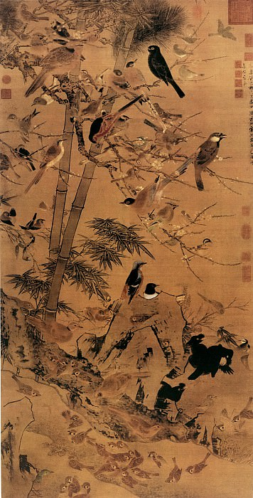 Jing Zhao. Chinese artists of the Middle Ages (边景昭 - 三友百禽图)