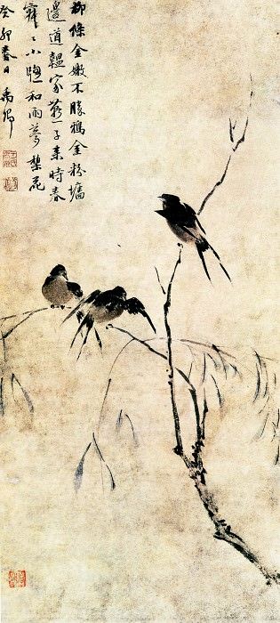 Wang Wenzhi. Chinese artists of the Middle Ages (王文治 - 柳燕图)