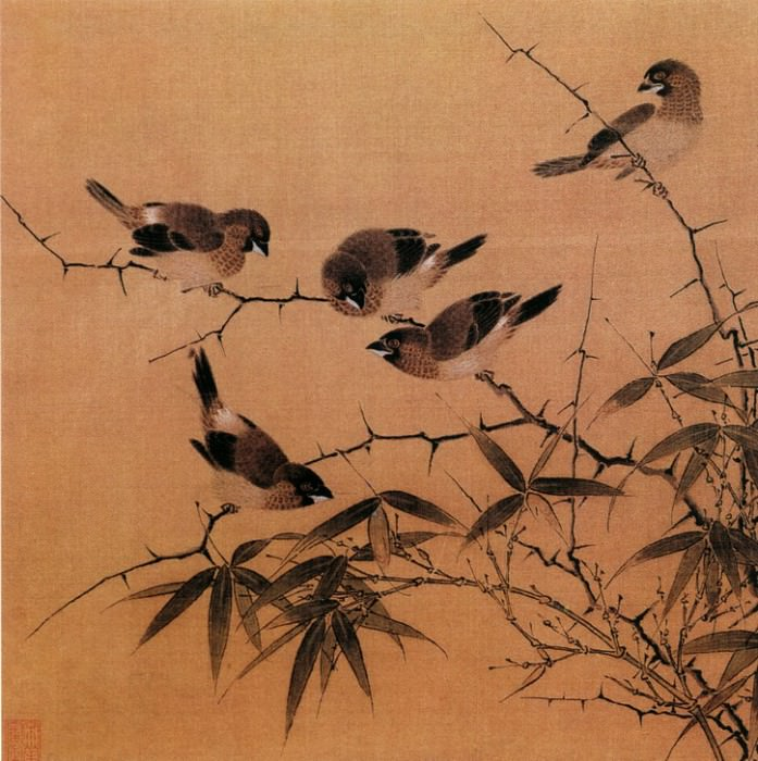 Unknown. Chinese artists of the Middle Ages (佚名 - 霜筱寒雏图)