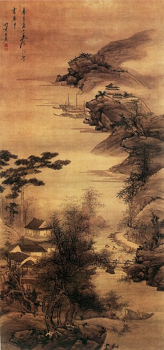 Wu Hong. Chinese artists of the Middle Ages (吴宏 - 江城秋访图)