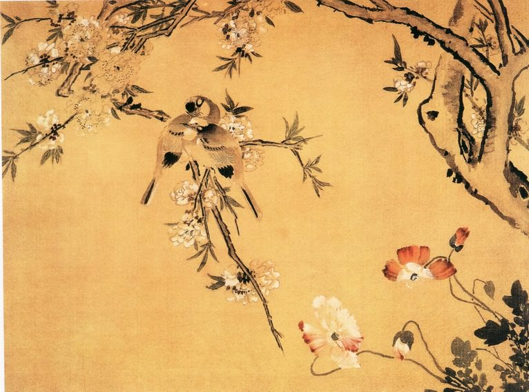 Yan Yue. Chinese artists of the Middle Ages (颜岳 - 桃花双禽图)
