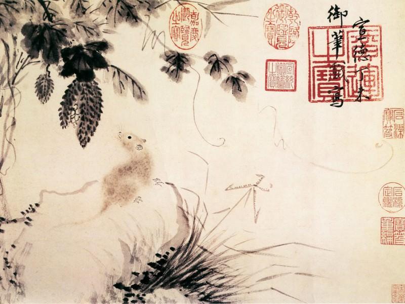 Zhu Zhanji. Chinese artists of the Middle Ages (朱瞻基 - 瓜鼠图)
