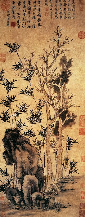 Wen Zhengming. Chinese artists of the Middle Ages (文徵明 - 霜柯竹石图)