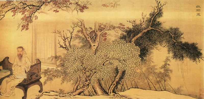Yu-Zhi Ding. Chinese artists of the Middle Ages (禹之鼎 - 王士祯放鹇图)