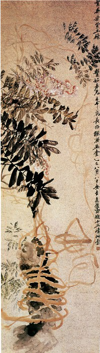 Wu Changshuo. Chinese artists of the Middle Ages (吴昌硕 - 紫藤图)