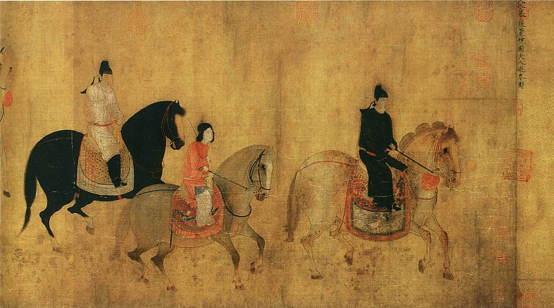 Zhang Xuan. Chinese artists of the Middle Ages (张萱 - 虢国夫人游春图)